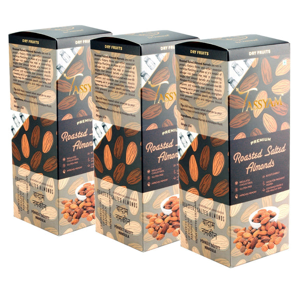 Gusto Spicerie Dry Fruit Oil-Free Roasted Salted Almonds - 250g Box | Triple Diwali Pack