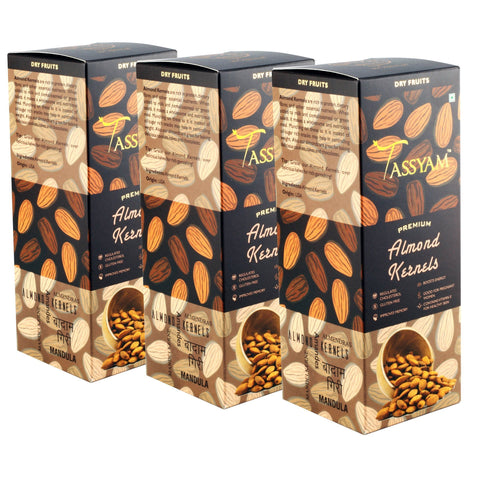 Raw Almond Kernels - 750g (3x 250g) Boxes | Limited Period Pack, Dry Fruit, Gusto Spicerie - Best Indian Teas