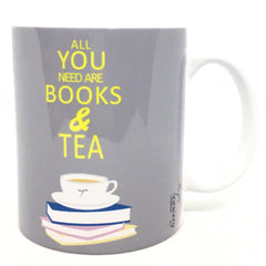 Teawery All You Need Are Books And Tea Ceramic Mug 330ml, Ceramic Mugs, Tassyam - Best Indian Teas