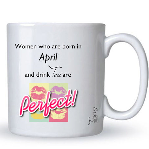Teawery April  Birthday Tea Lover's Perfect Mug 330ml by Tassyam, Ceramic Mugs, Tassyam - Best Indian Teas