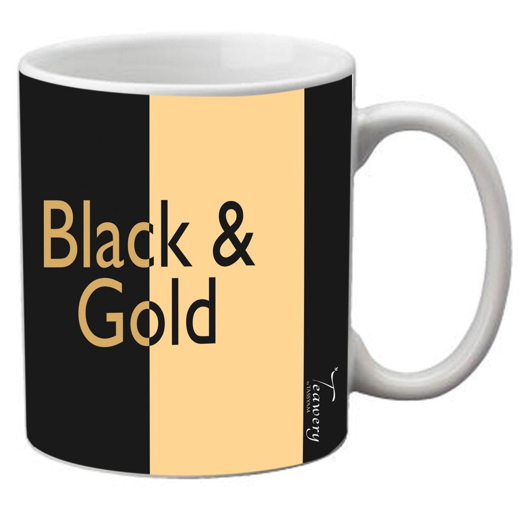 Teawery Black & Gold Ceramic Mug 330ml by Tassyam, Ceramic Mugs, Tassyam - Best Indian Teas