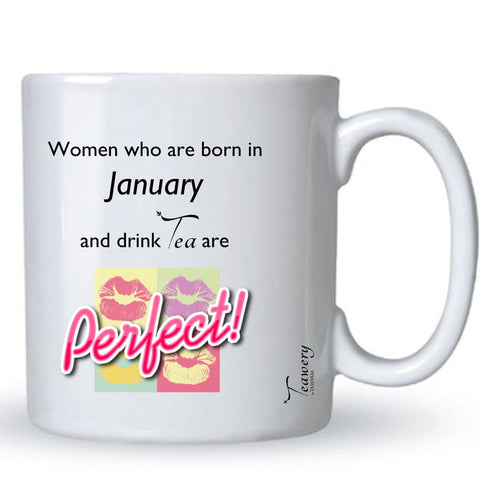 Teawery January  Birthday Tea Lover's Perfect Mug 330ml by Tassyam, Ceramic Mugs, Tassyam - Best Indian Teas