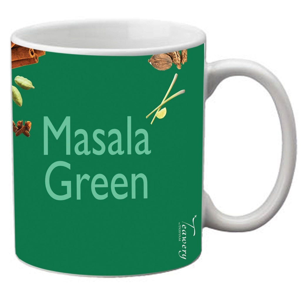 Tassyam Ceramic Mugs Teawery Masala Green Ceramic Mug 330ml by Tassyam