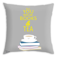 Teawery All You Need Are Books And Tea Cushion Cover 16x16, Cushion Cover, Tassyam - Best Indian Teas