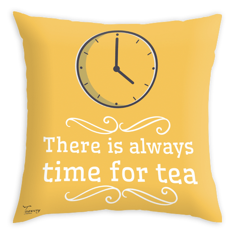 Tassyam Cushion Cover Teawery Always Time For Tea Satin Cushion Cover 16x16 by Tassyam