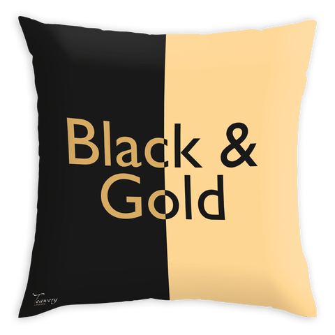 Tassyam Cushion Cover Teawery Black & Gold Satin Cushion Cover 16x16 by Tassyam