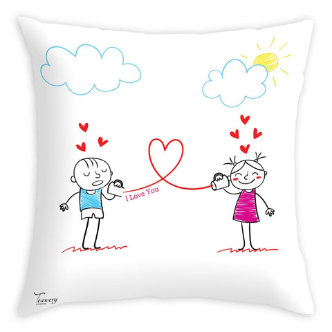 Tassyam Cushion Cover Teawery I love You Cushion Cover 16x16