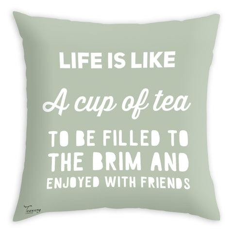 Tassyam Cushion Cover Teawery Life & Cup Of Tea Cushion Cover 16x16