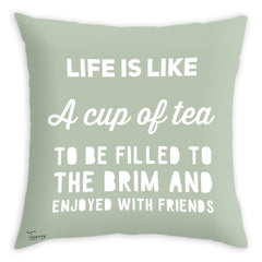 Teawery Life & Cup Of Tea Cushion Cover 16x16, Cushion Cover, Tassyam - Best Indian Teas