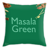 Teawery Masala Green Satin Cushion Cover 16x16 by Tassyam, Cushion Cover, Tassyam - Best Indian Teas