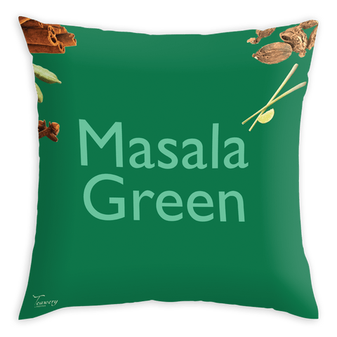 Tassyam Cushion Cover Teawery Masala Green Satin Cushion Cover 16x16 by Tassyam