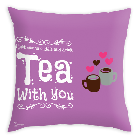 Teawery Tea Cuddle Satin Cushion Cover 16x16 by Tassyam, Cushion Cover, Tassyam - Best Indian Teas