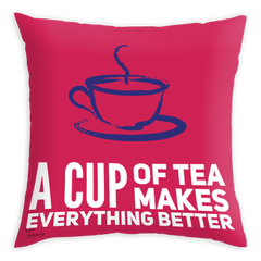 Teawery Tea Makes It Better Satin Cushion Cover 16x16 by Tassyam, Cushion Cover, Tassyam - Best Indian Teas