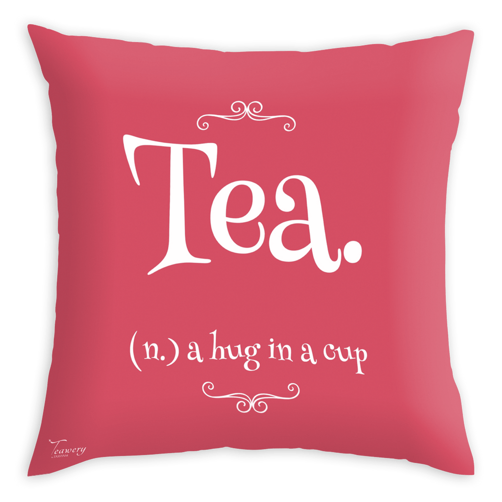 Tassyam Cushion Cover Teawery Tea Meaning Satin Cushion Cover 16x16 by Tassyam