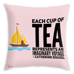 Teawery Tea Voyage Satin Cushion Cover 16x16 by Tassyam, Cushion Cover, Tassyam - Best Indian Teas