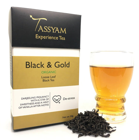 Tassyam Tea 50g Premium Box Black & Gold - Rare Organic Black Tea