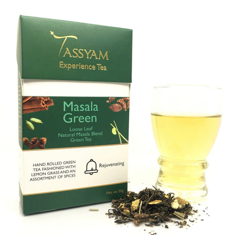 Tassyam Tea 50g Premium Box Masala Green - Green Tea Chai Blend