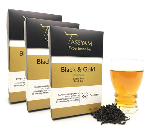 Tassyam Tea Black & Gold - Rare Organic Black Tea - Triple Diwali Pack