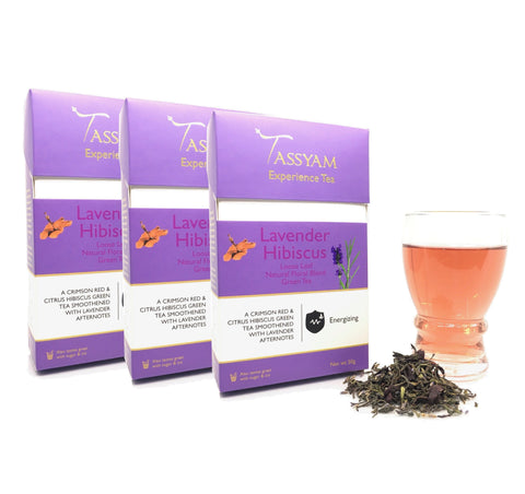 Tassyam Tea Lavender Hibiscus - Green Tea Blend - Triple Diwali Pack