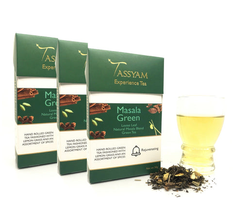 Tassyam Tea Masala Green - Green Tea Chai Blend - Triple Diwali Pack