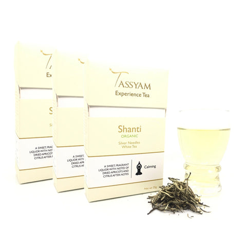 Tassyam Tea Shanti - Rare Organic Silver Needles White Tea - Triple Diwali Pack