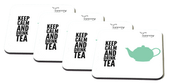 Teawery Keep Calm And Drink Tea Square Wooden Coaster by Tassyam (Set of 4), Wooden Coaster, Tassyam - Best Indian Teas