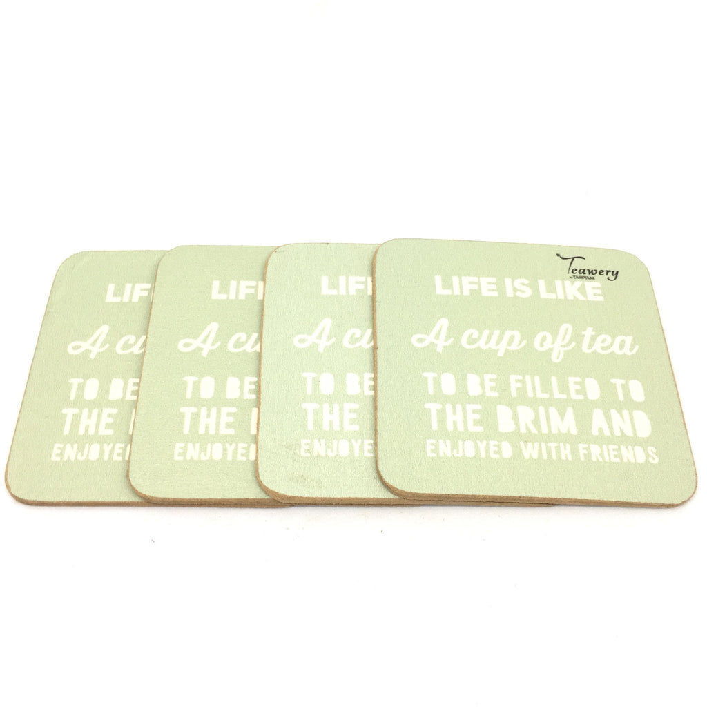 Tassyam Wooden Coaster Teawery Life & Cup Of Tea Square Wooden Coaster (Set of 4)