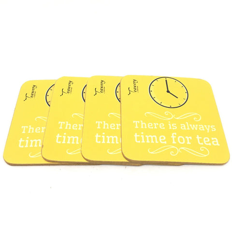 Teawery Time For Tea Square Wooden Coaster (Set of 4), Wooden Coaster, Tassyam - Best Indian Teas