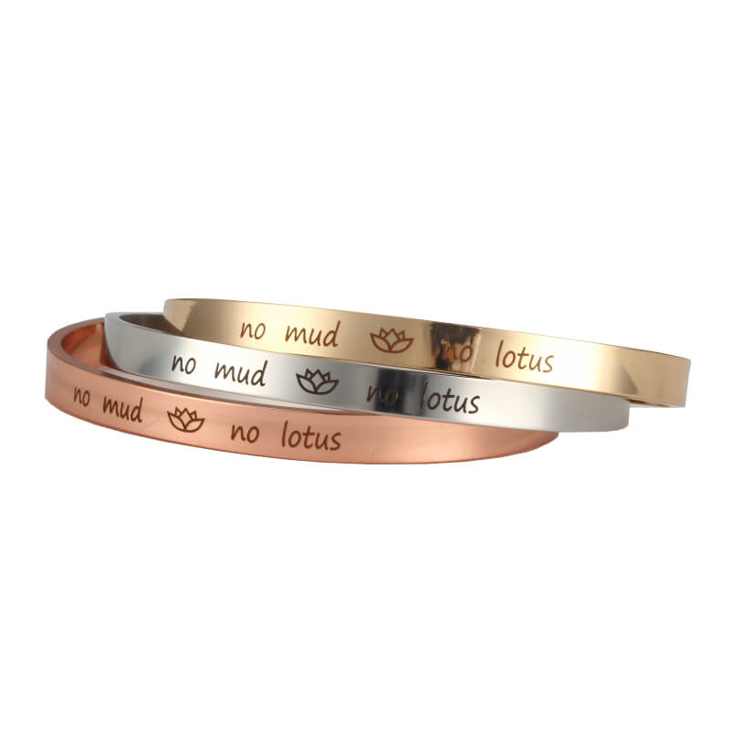 No Mud No Lotus Cuff Bracelet For Sale Online