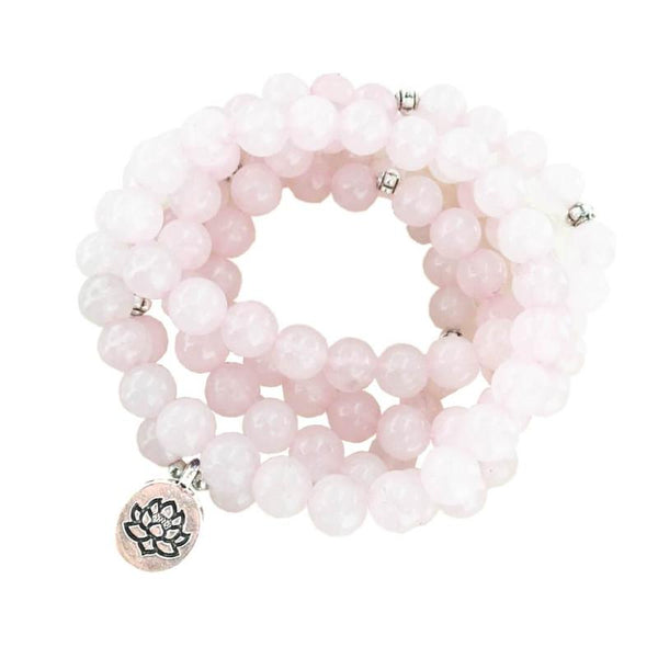 Rose Quartz Mala Bead Bracelet For Sale at Forever Eights