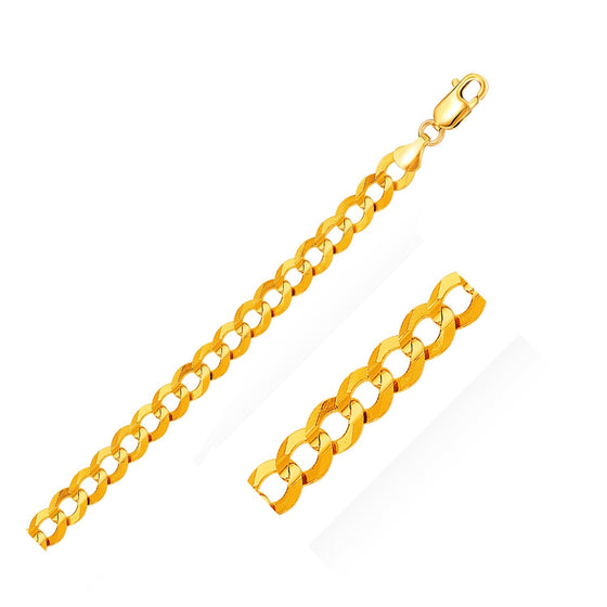 10.0mm 14K Yellow Gold Solid Curb Bracelet
