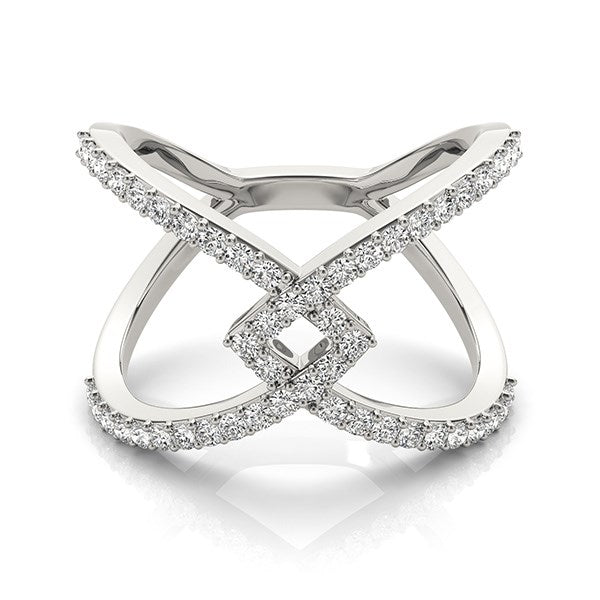14k White Gold Fancy Entwined Design Diamond Ring 1 2 Ct Tw