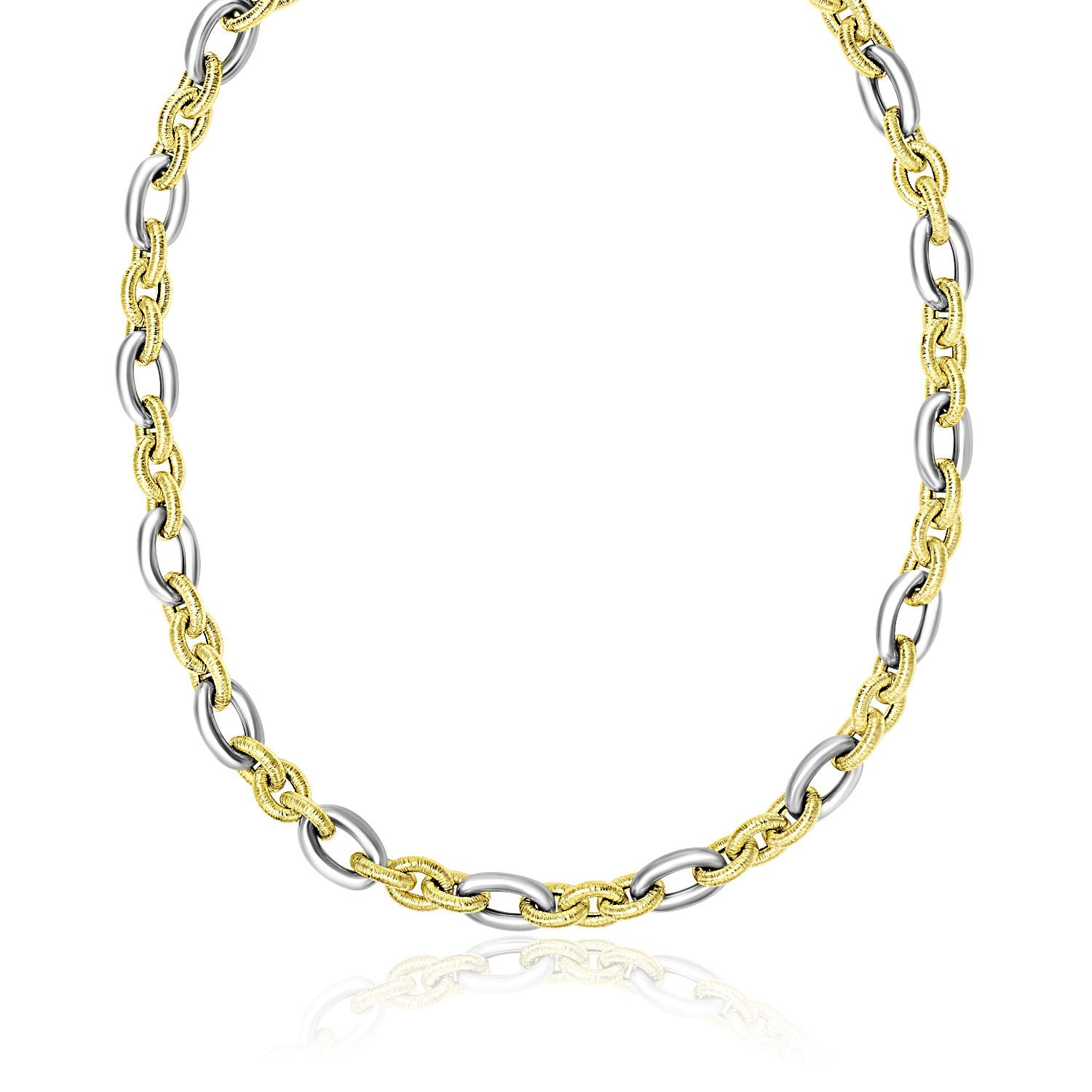 hollow tone necklace yellow inch two chains thick cuban gold mens super chain