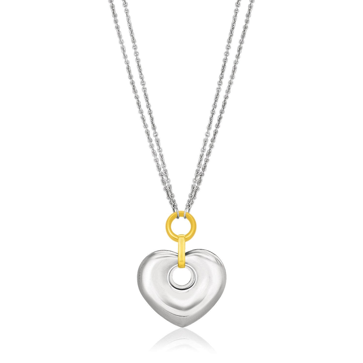 14k yellow gold sterling silver puffed heart circle cutout 14k yellow gold sterling silver puffed heart circle cutout necklace aloadofball Images