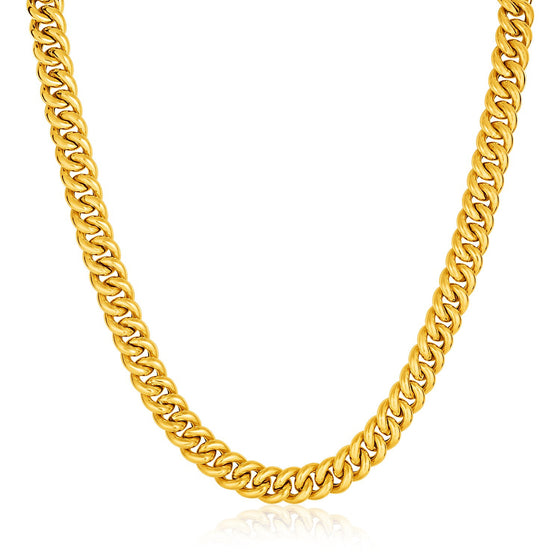 14K Gold 18 inches Curb Style Necklace with Fleur-de-Lis Lobster Clasp