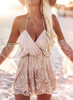 Fire Glam Romper-Rose Gold - Posh Fashion Girls