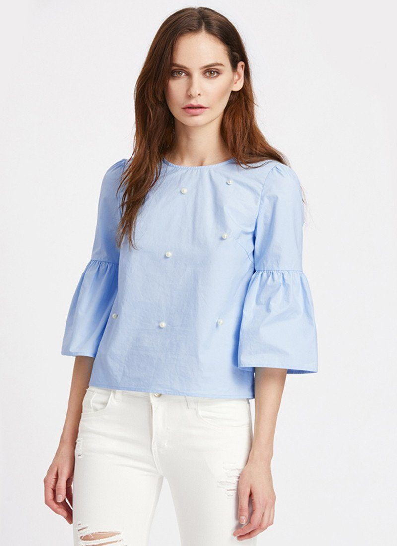 A New Day With Pearl Top -Sky Blue - Posh Fashion Girls