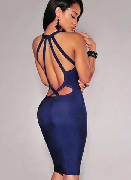 Sweetheart Royal Bandage Dress - Posh Fashion Girls