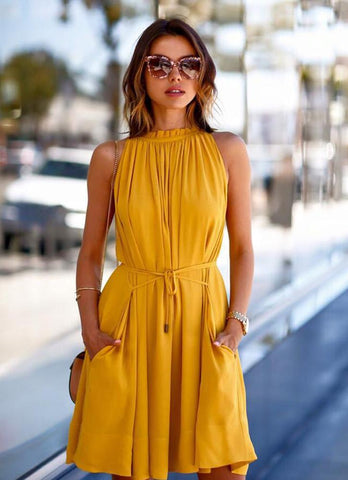 Shade Of Citrine Dress-Vintage Yellow - Posh Fashion Girls