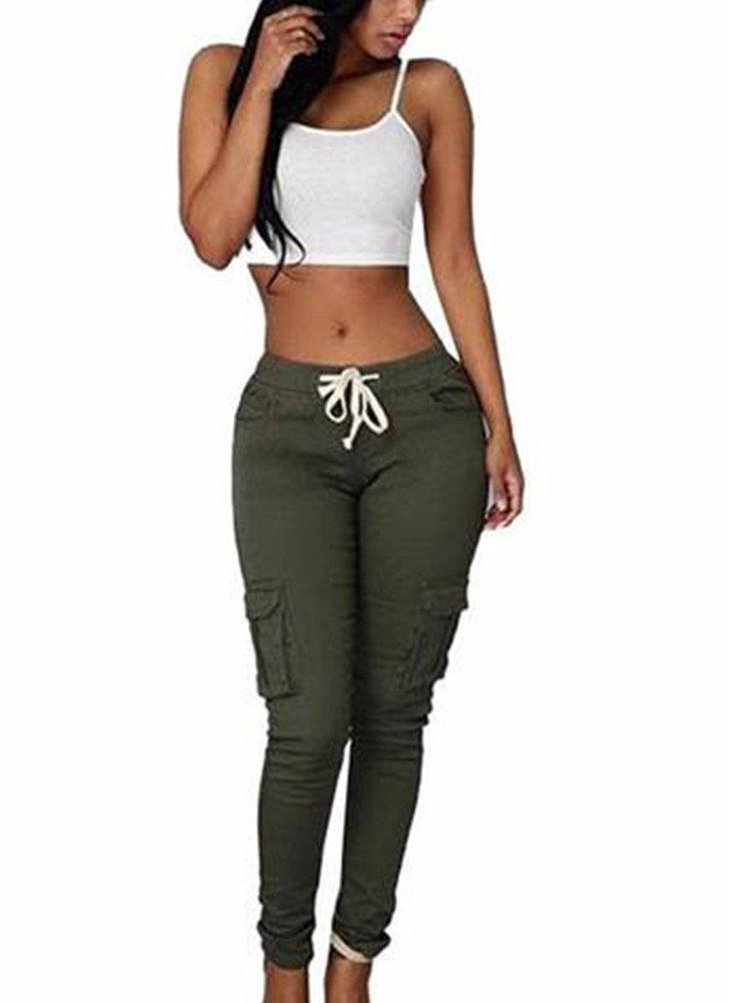 Hot Army Girls Pants-Army Green