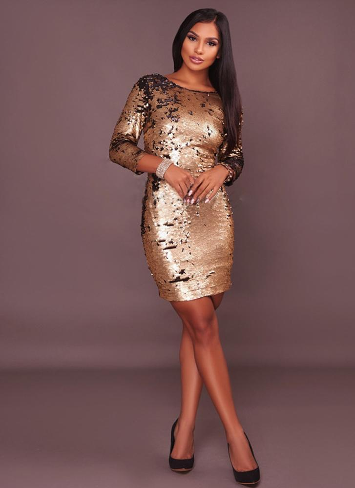 Sofia sequins Dress-Gold - Posh Fashion Girls