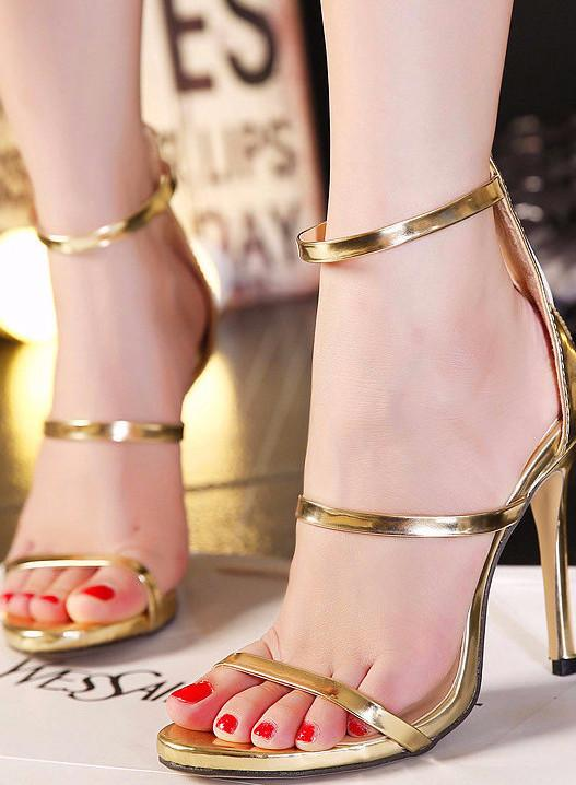 Strapped Lux Heel Shoes-Gold