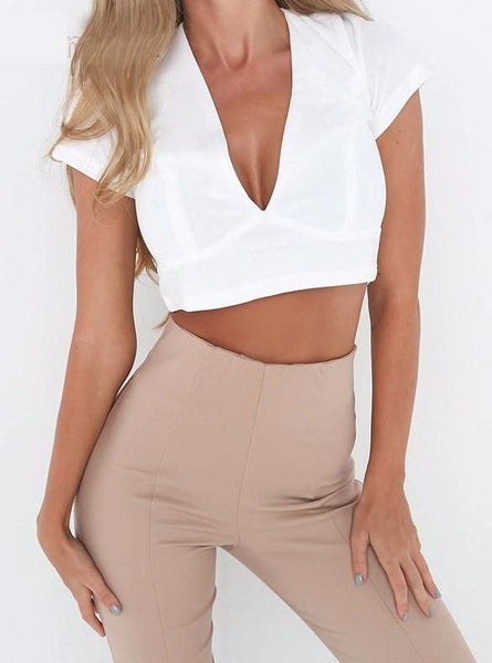 Sofia Crop Top-White - Posh Fashion Girls