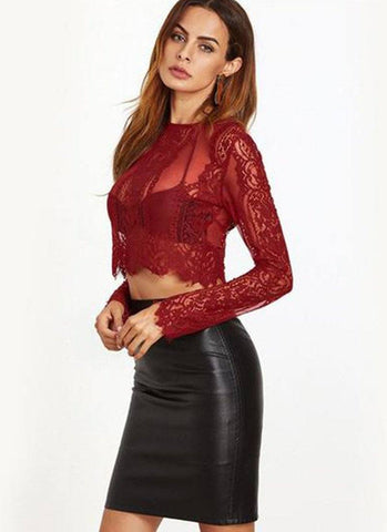 Just Angle Lace Top-Maroon - Posh Fashion Girls