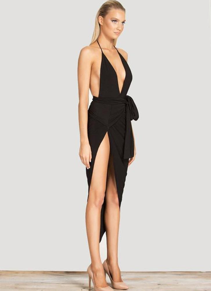 Sling Bless Wrap Dress-Black - Posh Fashion Girls