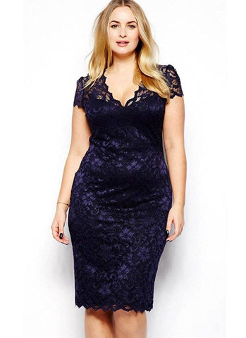 Your Stories Floral Lace dress- Dark Blue - Posh Fashion Girls