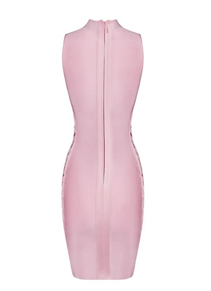 Rana Lace up Bandage Dress- Pink - Posh Fashion Girls