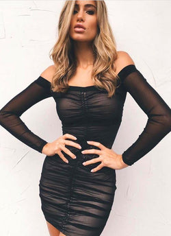 Tori Mesh Mini Dress-Black - Posh Fashion Girls