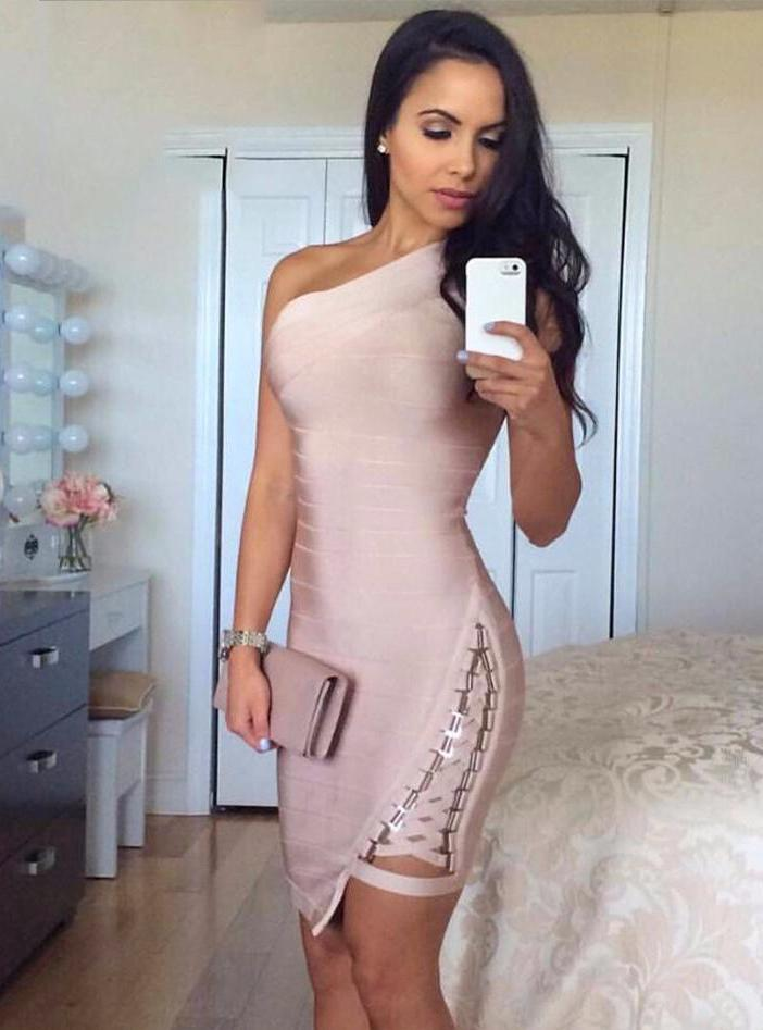 Alba Bodycon Bandage Dress -Nude