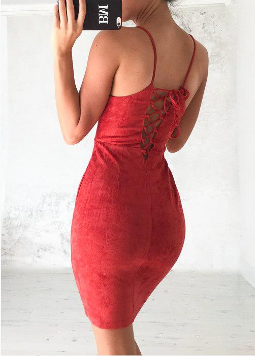 Luxo Suede Midi Dress-Red